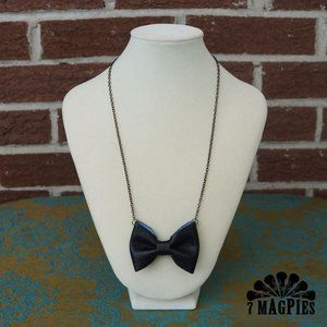Upcycled Leather Bow Necklace in Peek-A-Boo Blue